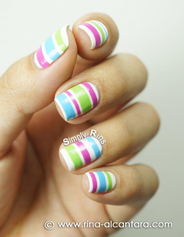 Colored Stripes nail art by Rina Alcantara