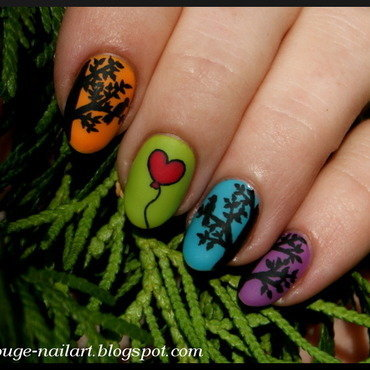 Two Birds and Balloon nail art by RedRouge