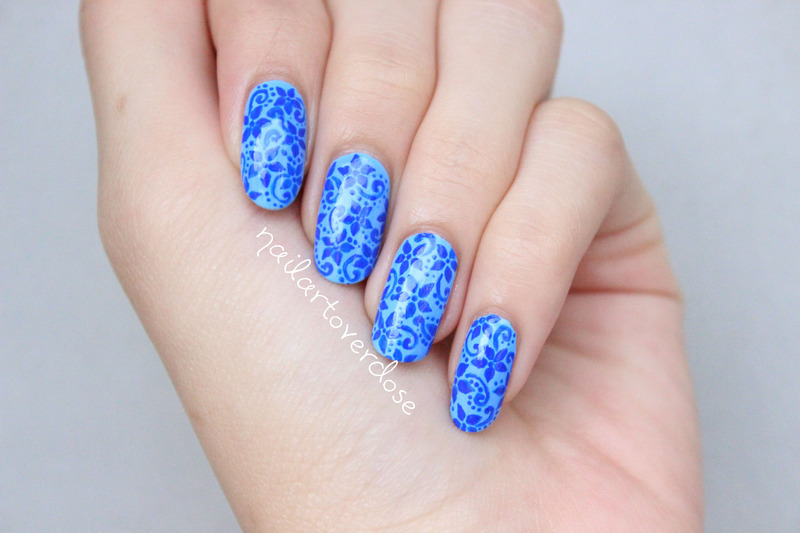 Blue Floral nail art by nailartoverdose