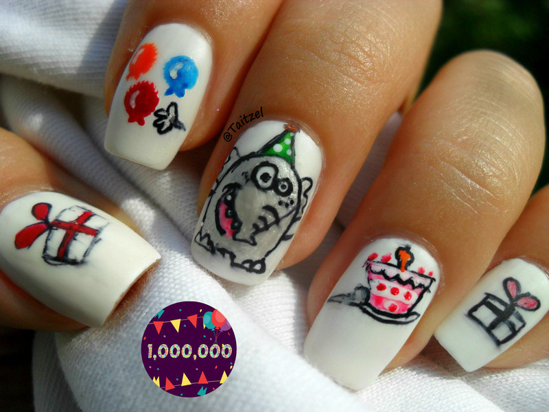The elefant likes nailpolis party :D nail art by Teo