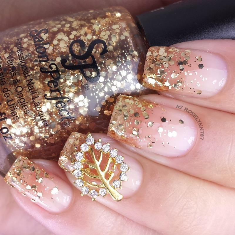 Golden Autumn nail art by Rose Mercedes - Nailpolis: Museum of Nail Art