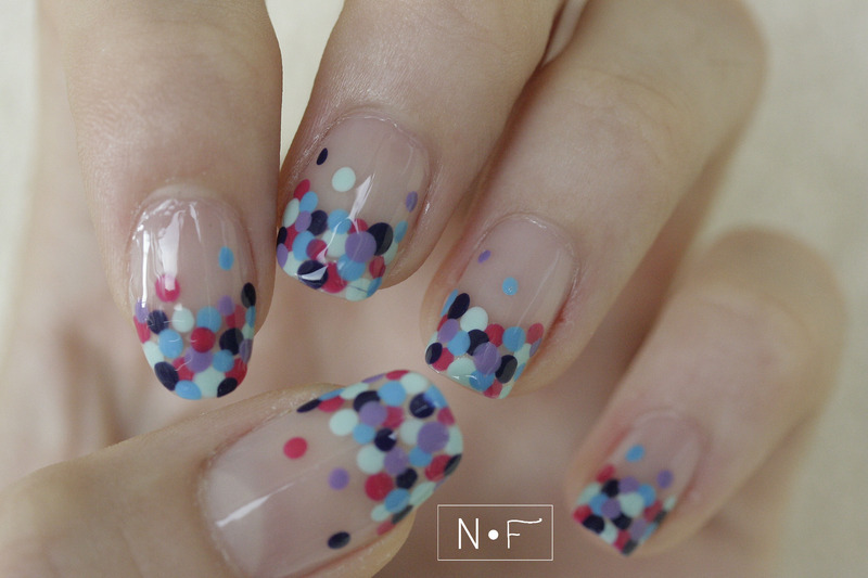Dotted French manicure nail art by NerdyFleurty