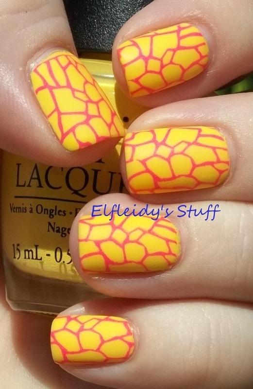 Over a yellow base....... nail art by Jenette Maitland-Tomblin