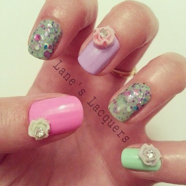 3D Florals nail art by Rebecca