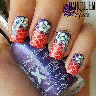 Tropical Summer Gradient nail art by BaroquenNails