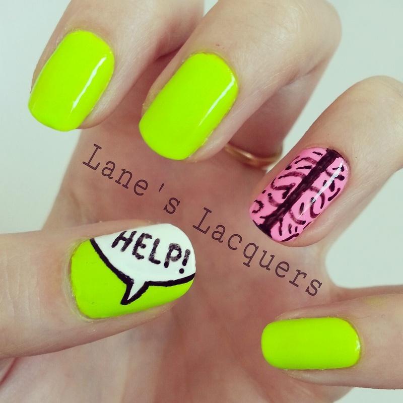 Neon Depression Awareness Manicure nail art by Rebecca