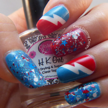 Red, White and Blue nail art by Denise