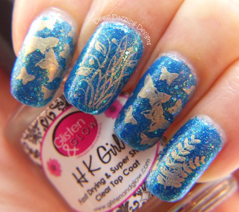 Butterflies nail art by Denise