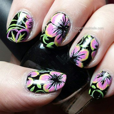Something tropical!  nail art by Sam