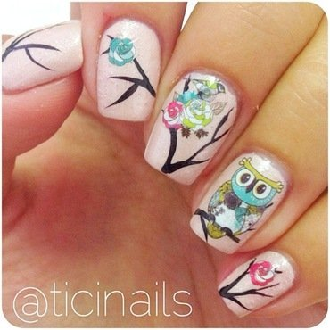 Cute owls nail art by Patricija Zokalj