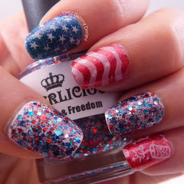 4th of July 2014 nail art by Denise