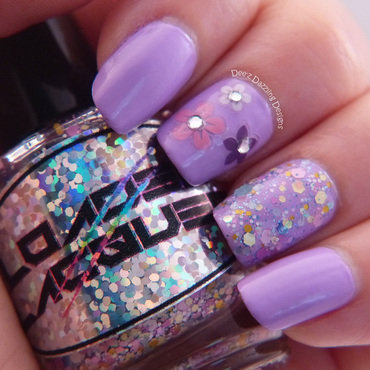 Lavender Flowers and Glitter nail art by Denise
