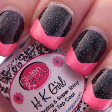 Funky Hot Pink Tips nail art by Denise