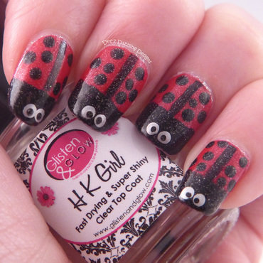 Sparkly Ladybugs nail art by Denise