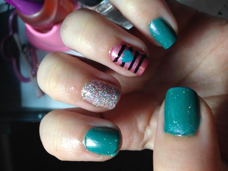 Glitter & Hearts nail art by Snowwhitequ33n