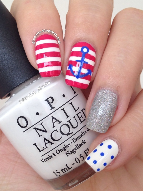 Navy Love for Nailstorming nail art by Giovanna - GioNails