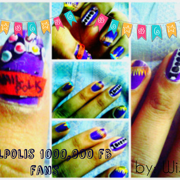 1,000,000 fb fans art  nail art by mwish