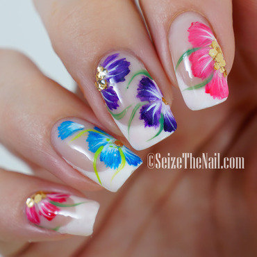 One-stroke flowers nail art by Bella Seizethenail