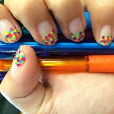 Neon Polka Dot Tips nail art by Stephanie
