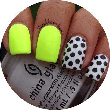 Neon Polka Dots nail art by Dvisha P