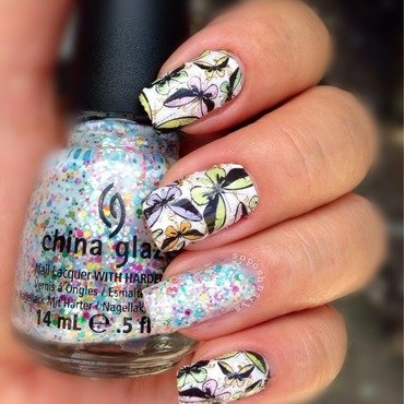Butterflies and Glitter nail art by Debbie