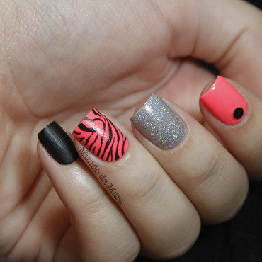 Neon Zebra Mix and Match nail art by Mare