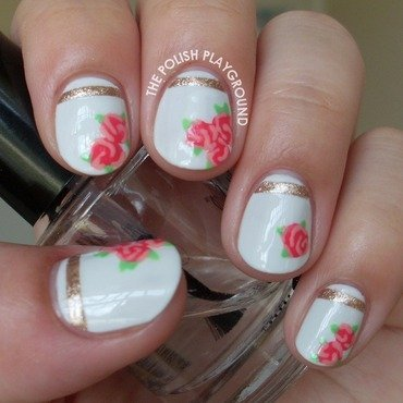 Vintage Rose Tea Cup Inspired Nail Art nail art by Lisa N