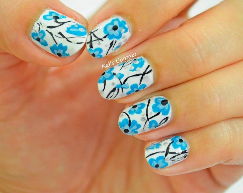Blue Floral Nail Art nail art by NailsContext