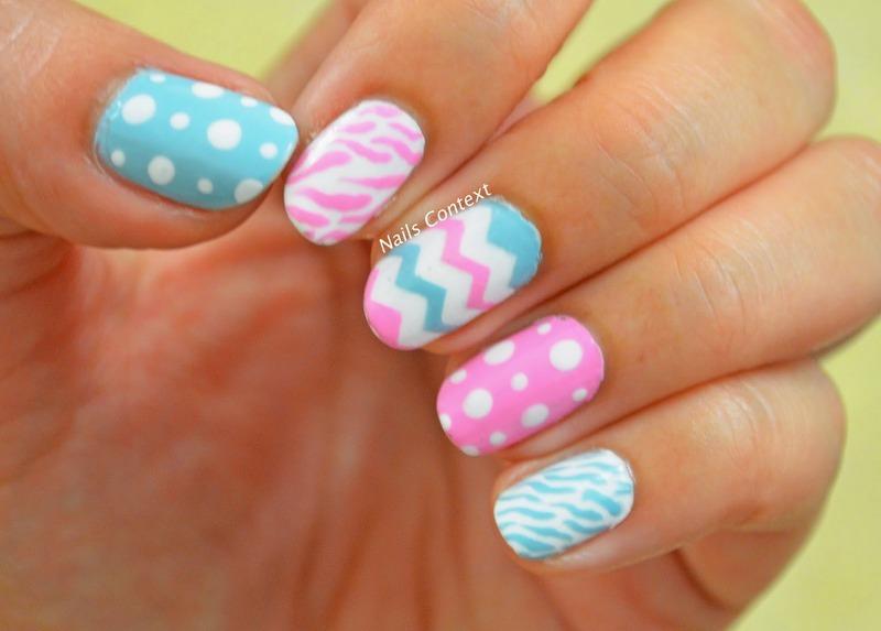 Pink n Blue  nail art by NailsContext