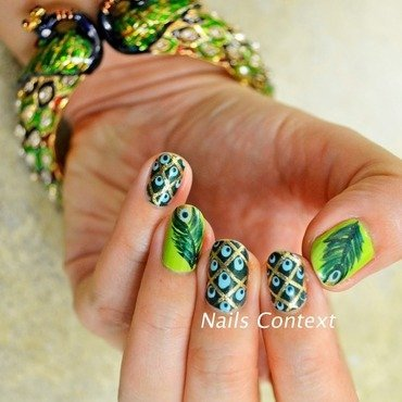 Peacock Nail Art nail art by NailsContext