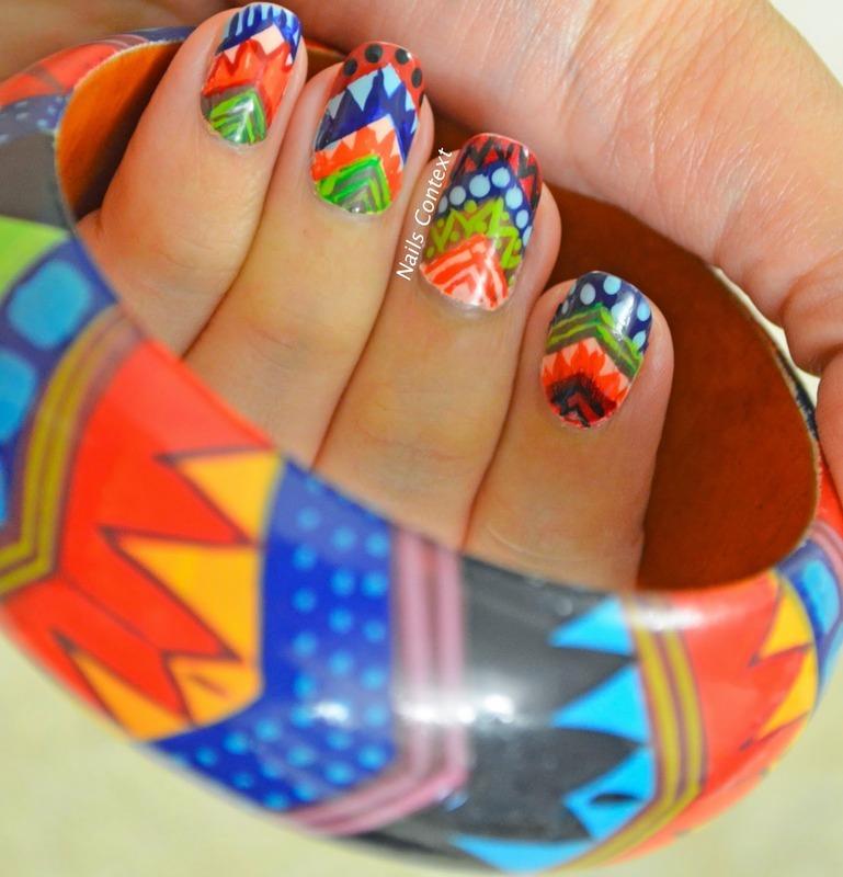 Colorful Tribal Print nail art by NailsContext