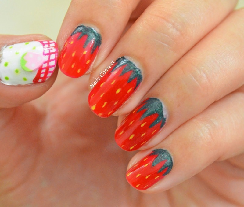 Strawberry Nail Arr nail art by NailsContext