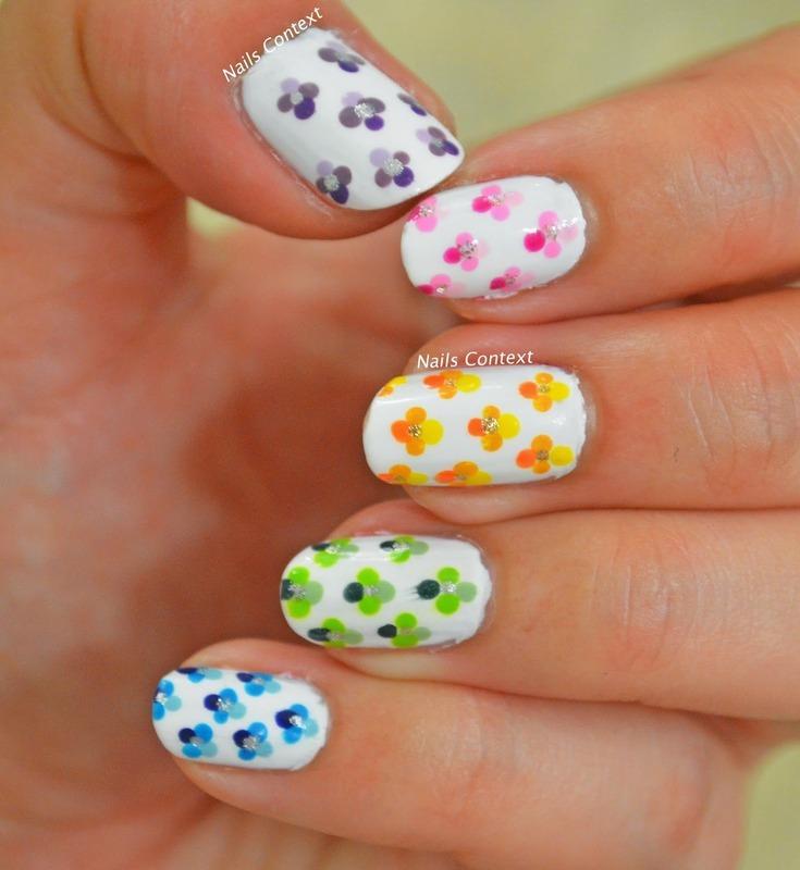 Ombre Floral Nails nail art by NailsContext