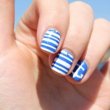 Nautical nails nail art by Cocosnailss