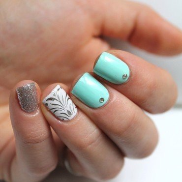 White, silver & mint  nail art by Cocosnailss
