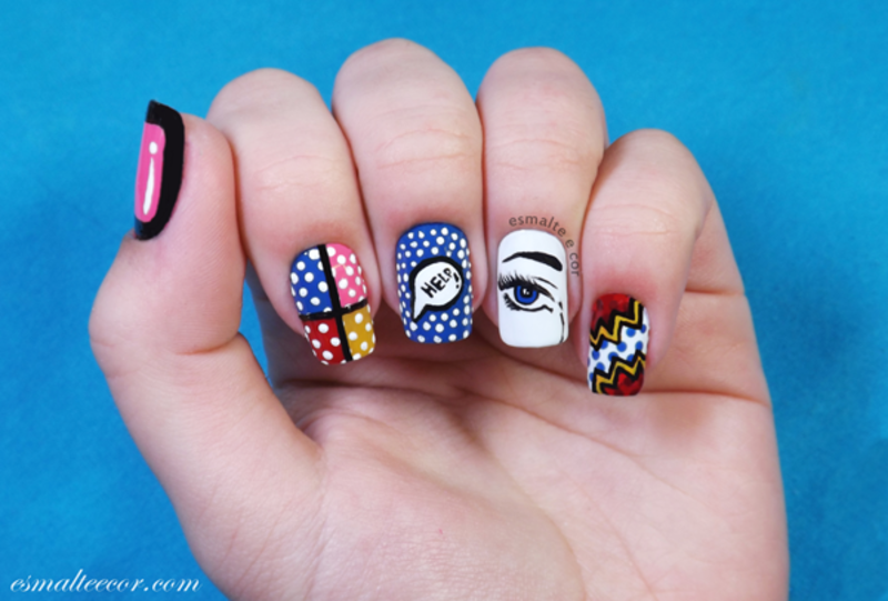 Pop Art Nails Nail Art By Gabriela Becker Nailpolis Museum Of