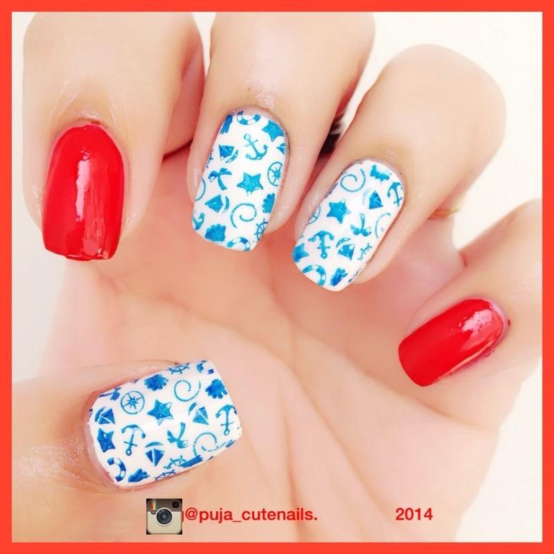 Nautical inspired nails  nail art by Puja Malhotra