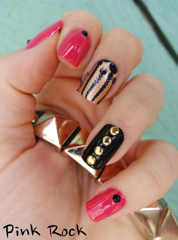 Pink Rock nail art by Pmabelle