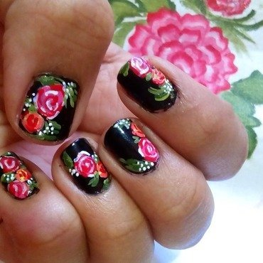 vintage rose nail art nail art by polish_it_girls