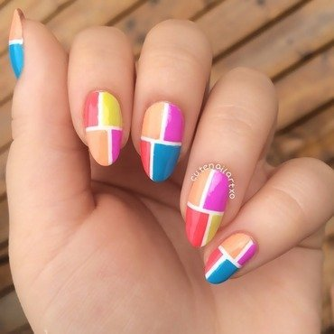 Color block nails 💅 nail art by Kristen