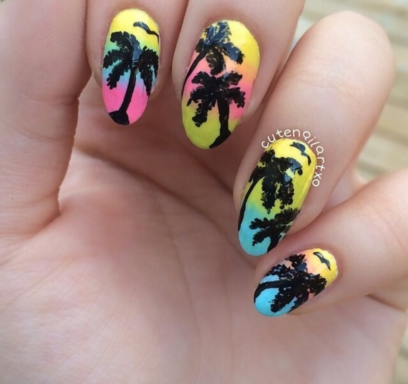 Palm tree nails nail art by Kristen