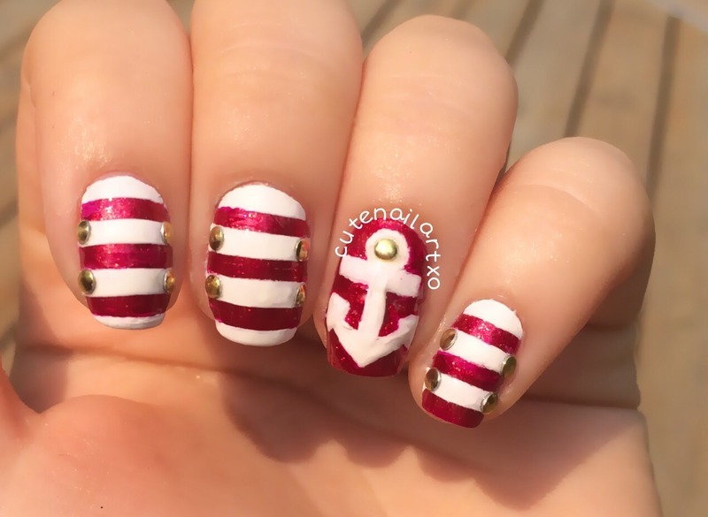 Anchor nails 💅 nail art by Kristen