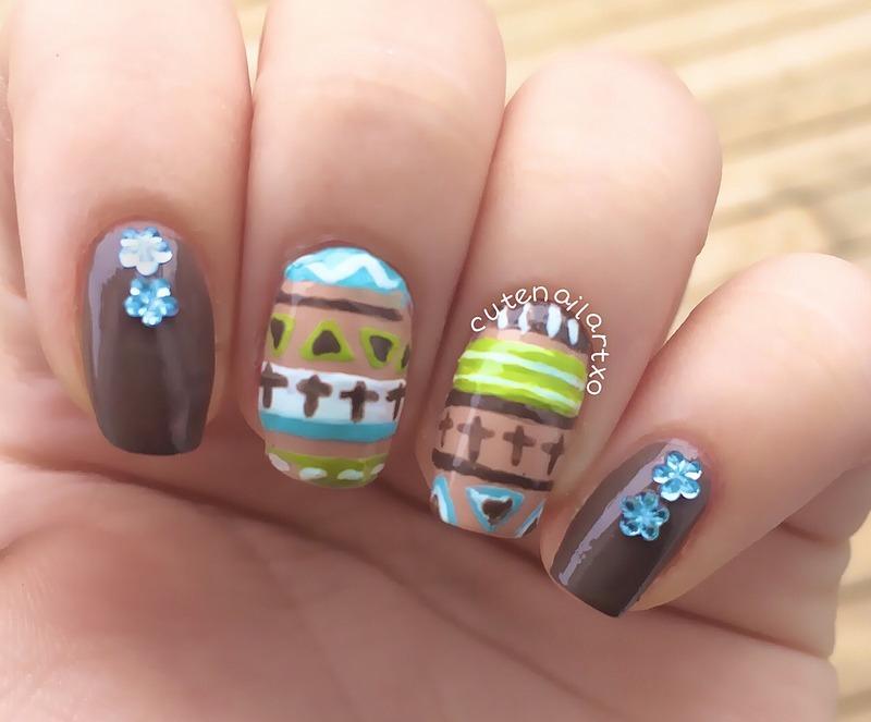 Tribal nails nail art by Kristen