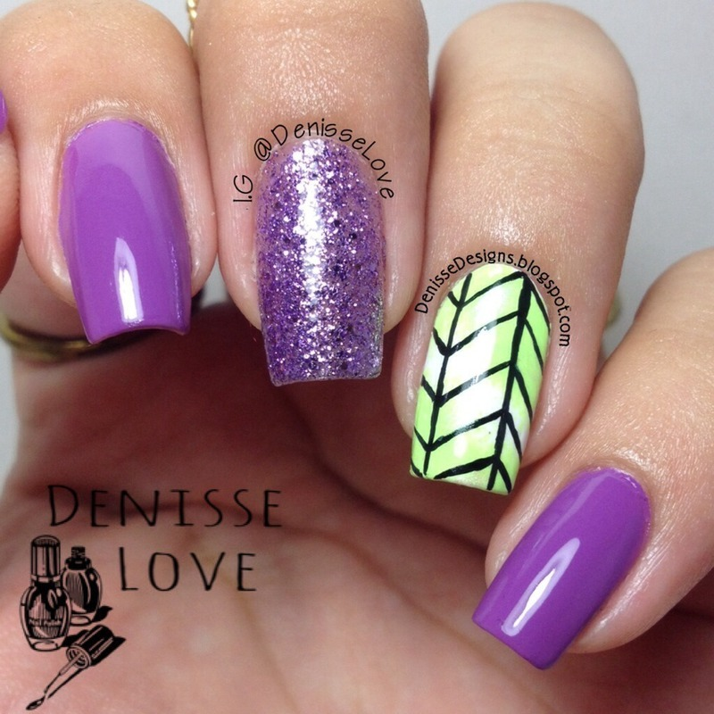 Green accent nail nail art by Denisse Love