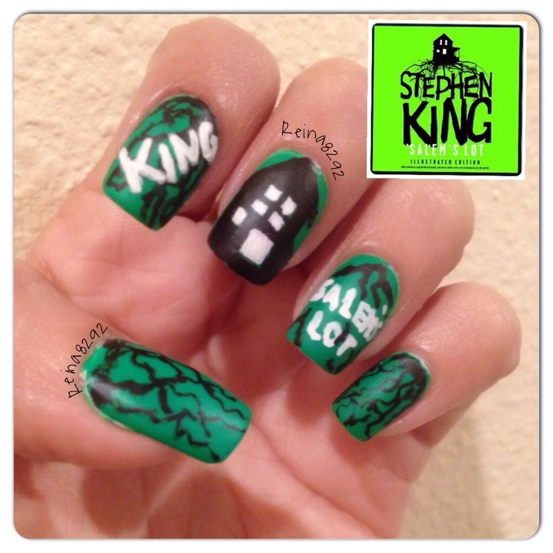 Salem's Lot nail art by Reina