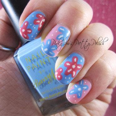 Patel Flowers nail art by Pinkglow