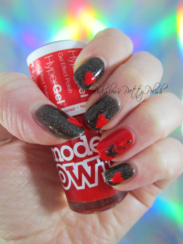 Black Nail Polish Red Glitter - Absolute cycle