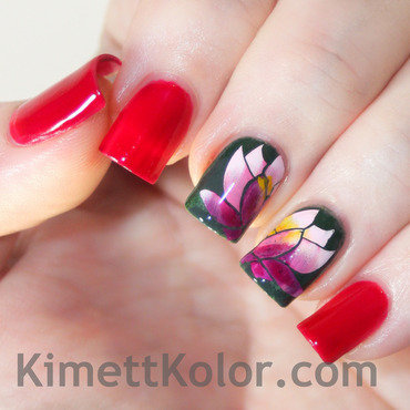 July Theme of the Month: Ruby and Water Lily nail art by Kimett Kolor