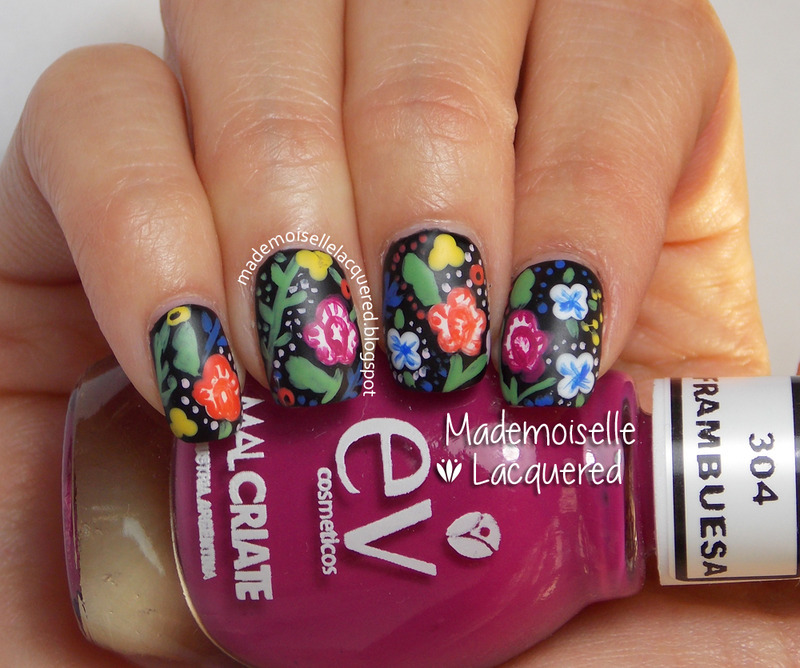 Bohemian Flowers nail art by Emilia