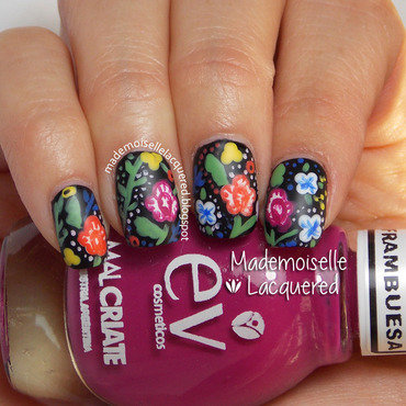 Bohemian Flowers nail art by Emilia